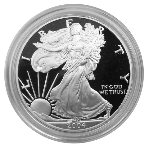 2004 W American Eagle Silver Proof 1 oz dollar - w/box & Coa