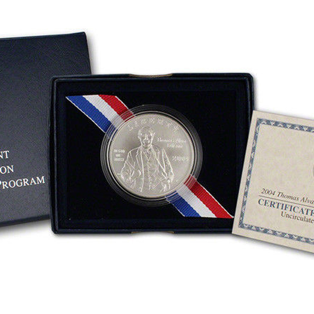 2004-P Edison Uncirculated Commemorative Dollar 90% Silver OGP
