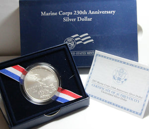 2005-P Marine Corps Uncirculated Commemorative Dollar 90% Silver OGP