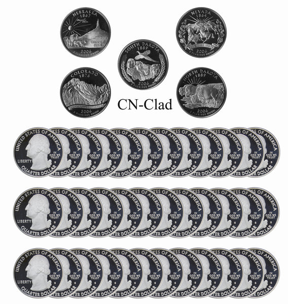 2006 S State Quarter Gem Deep Cameo Proof Roll CN-Clad (40 Coins)