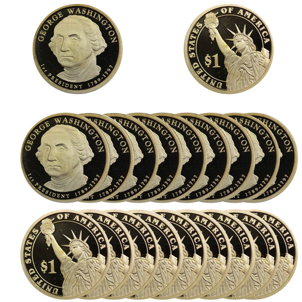 2007 S George Washington Presidential Dollar Proof Roll (20 Coins)