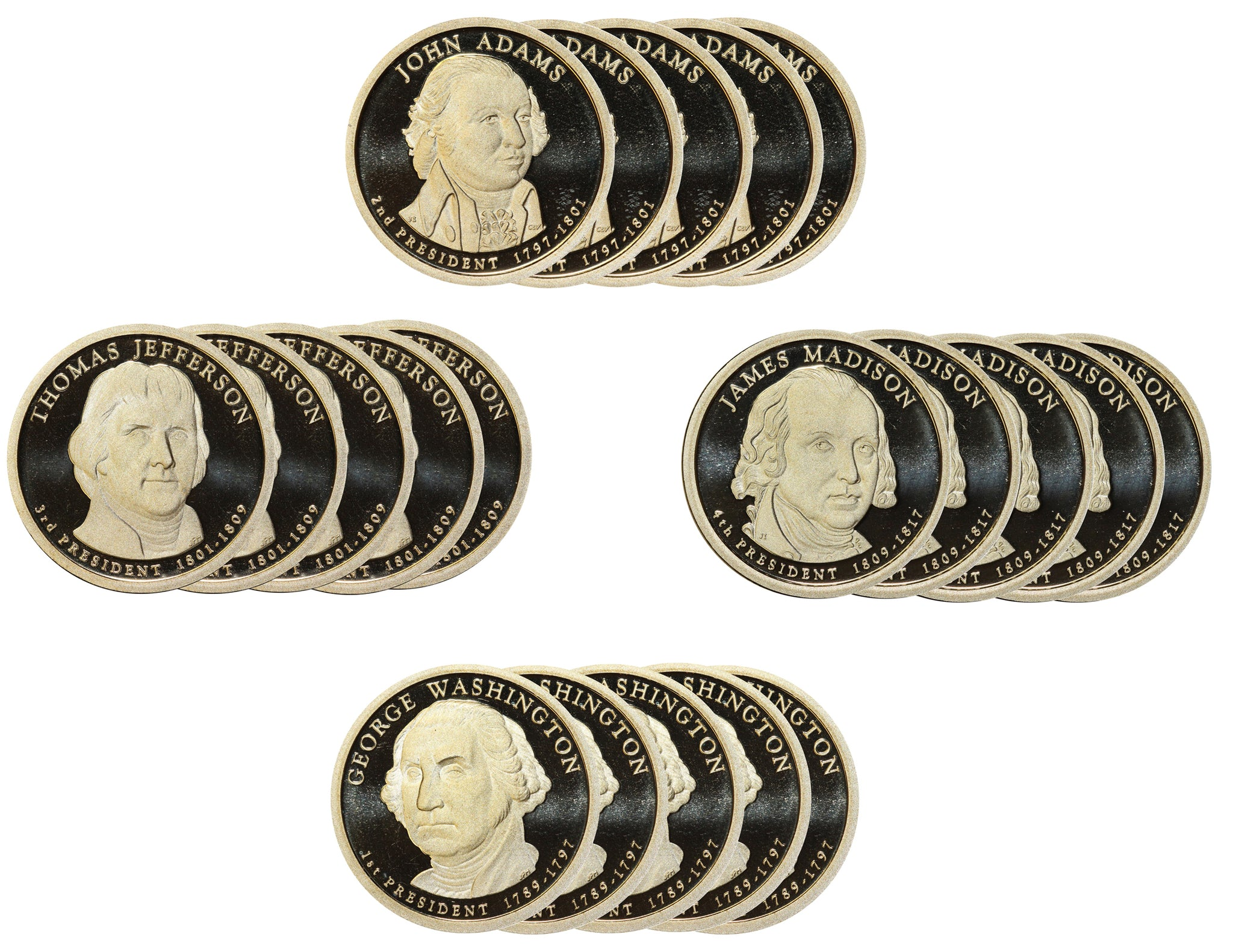 2007 S Presidential Dollar Proof Roll (20 Coins) Adams Jefferson Madison Washington