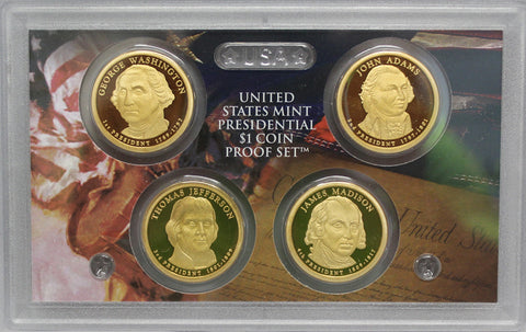 2007 S Presidential Dollar  US Mint Poof set in Lense NO BOX or COA 4 US Coins