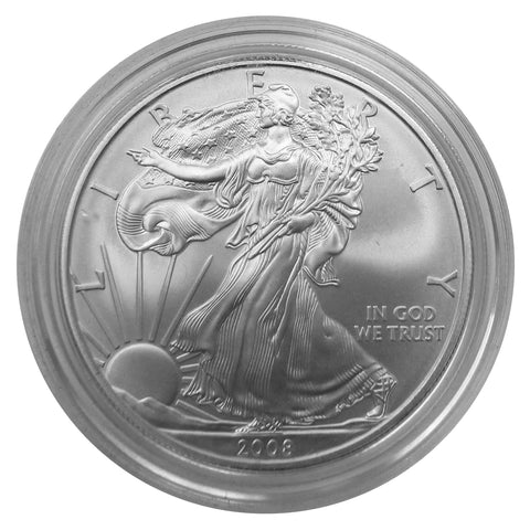 2008 W American Eagle Silver BU Gem 1 oz dollar w/ box and COA