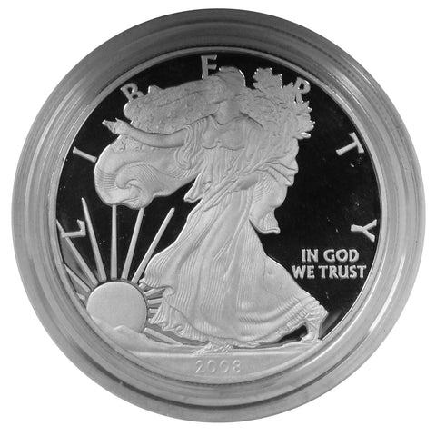 2008 W American Eagle Silver Proof 1 oz dollar - w/box & Coa