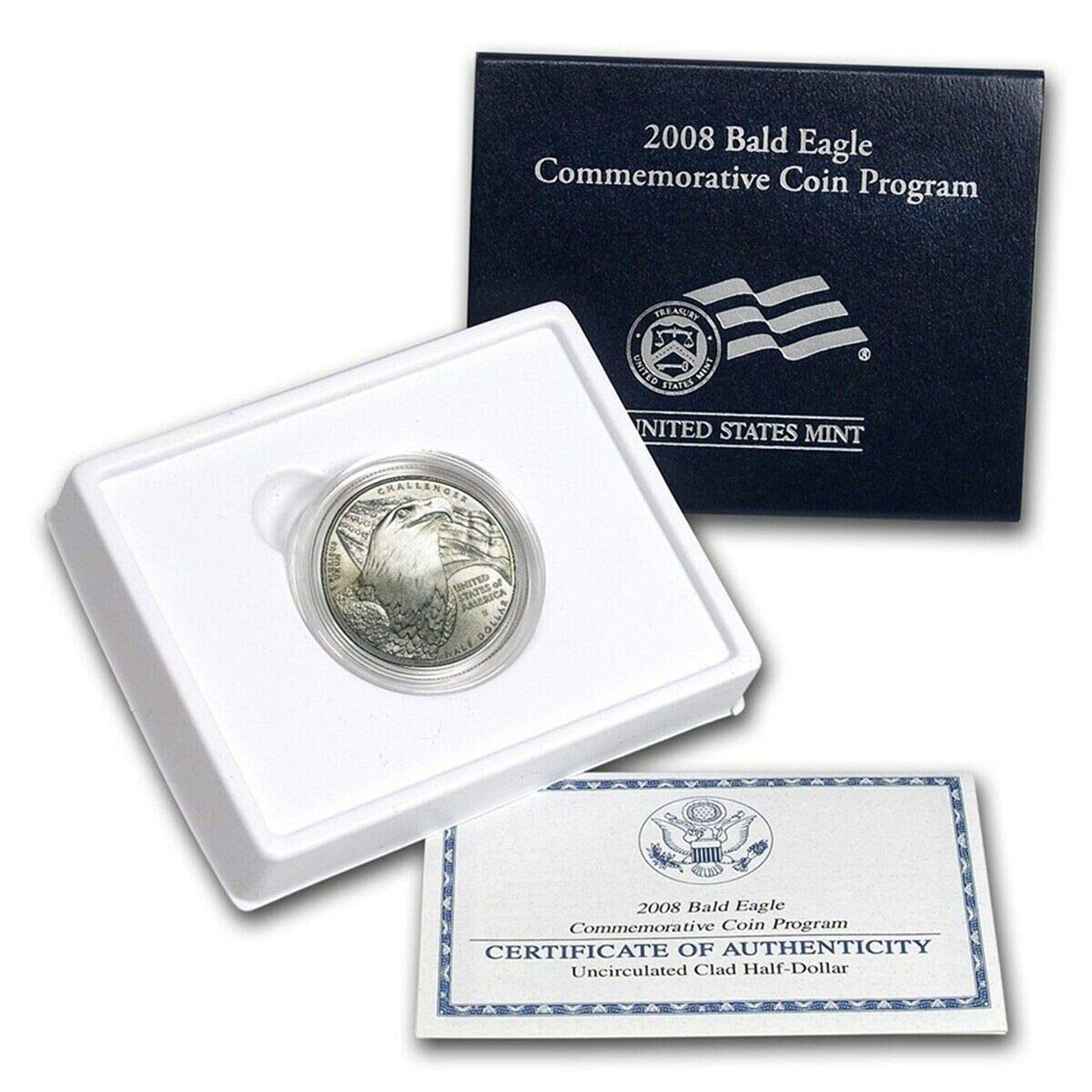 2008-S Bald Eagle Uncirculated Commemorative Half Dollar Clad OGP