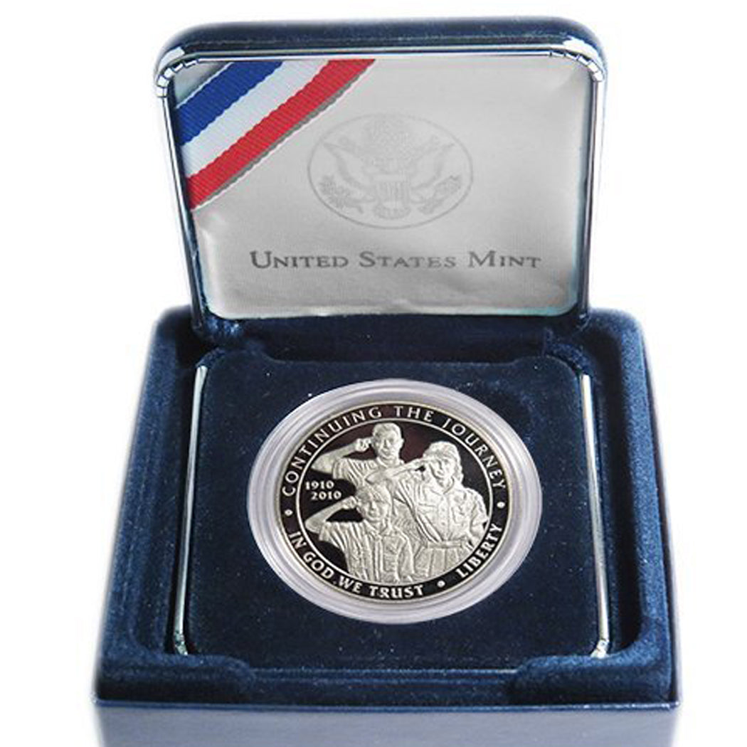 2010-P Boy Scouts Proof Commemorative Dollar 90% Silver OGP