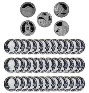 2010 S Parks Quarter ATB Gem Deep Cameo Proof Roll 90% Silver (40 Coins)