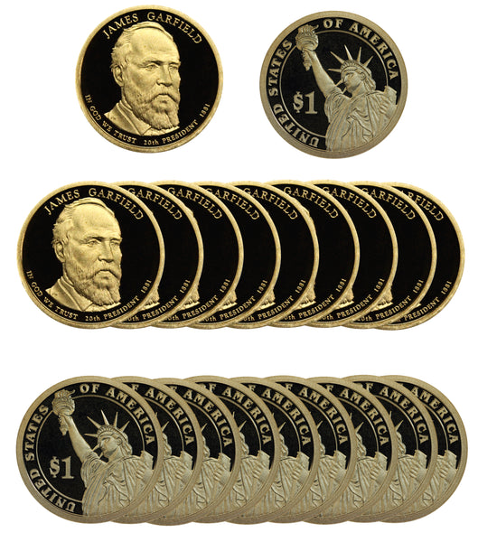 2011 S James Garfield Presidential Dollar Proof Roll (20 Coins)