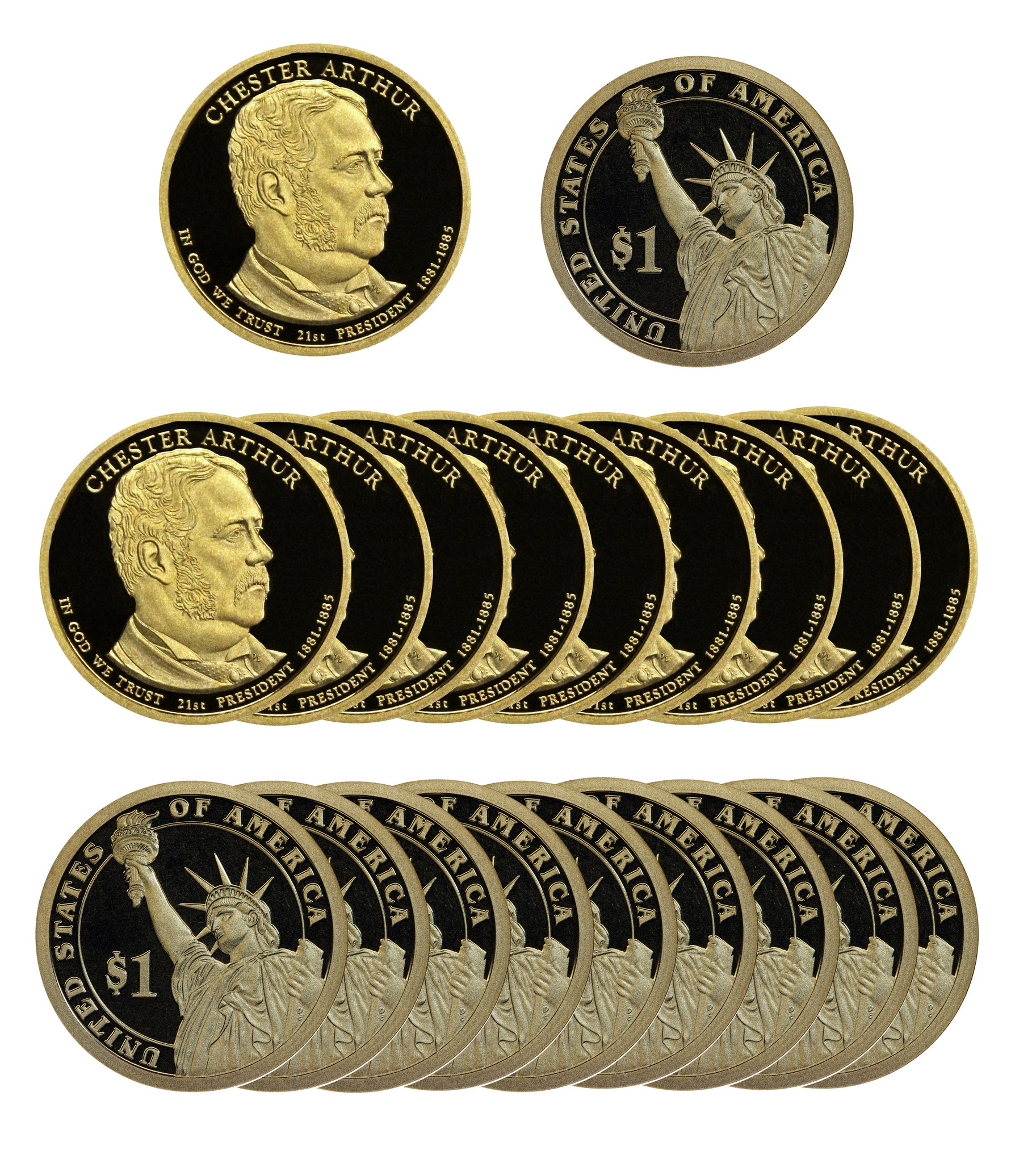 2012 S Chester Arthur Presidential Dollar Proof Roll (20 Coins)
