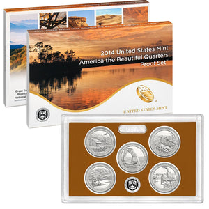 2014 America the Beautiful Quarter Proof Set CN-Clad (OGP) 5 coins
