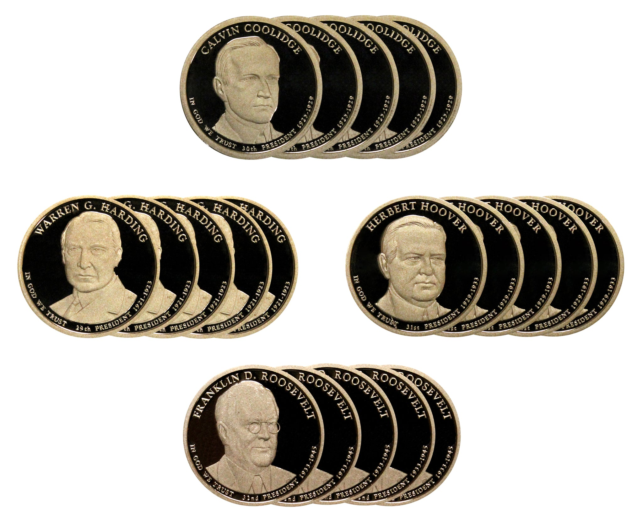 2014 S Presidential Dollar Proof Roll (20 Coins) Roosevelt Coolidge Harding Hoover