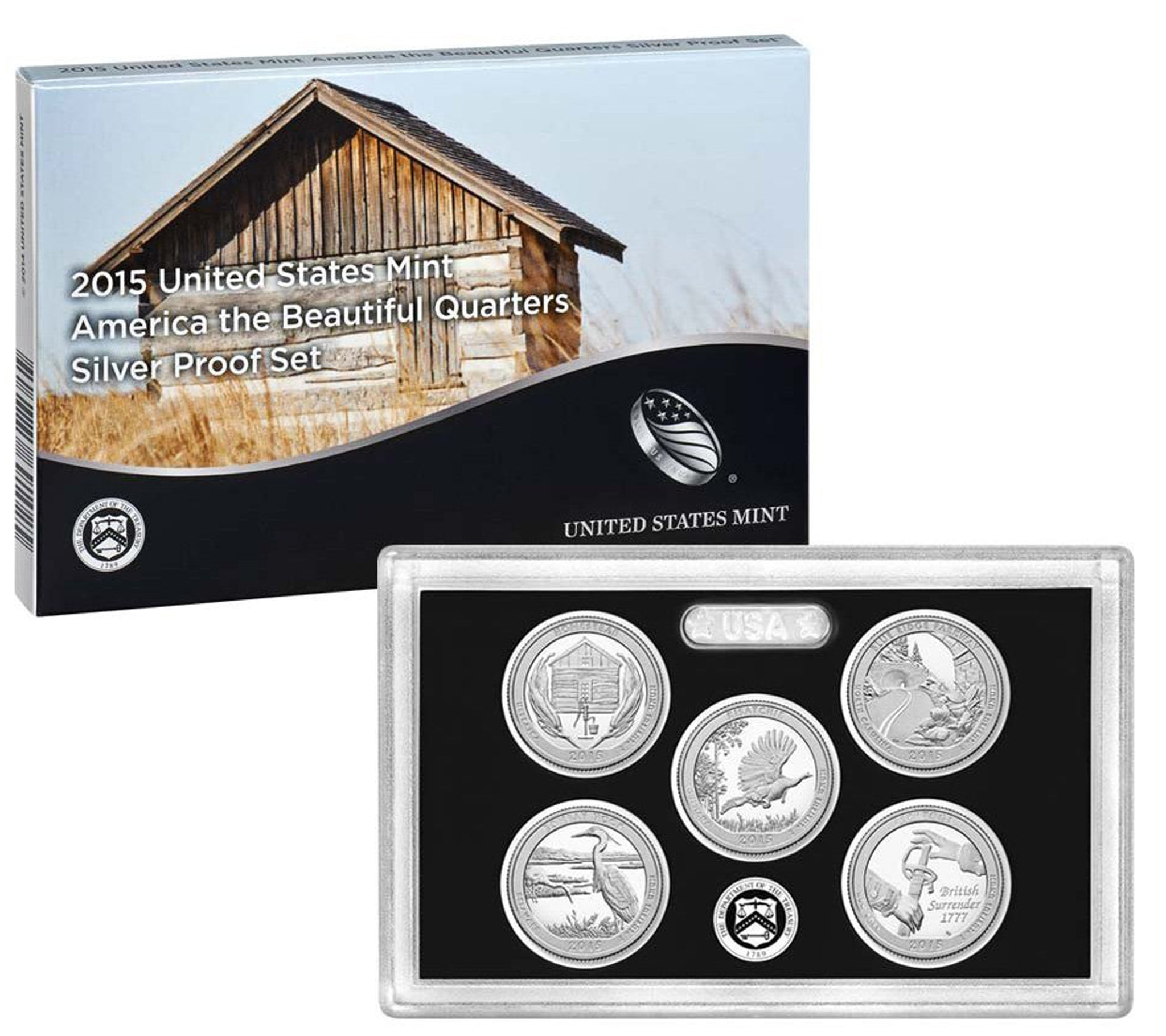 2015 America the Beautiful Quarter Proof Set 90% Silver (OGP) 5 coins