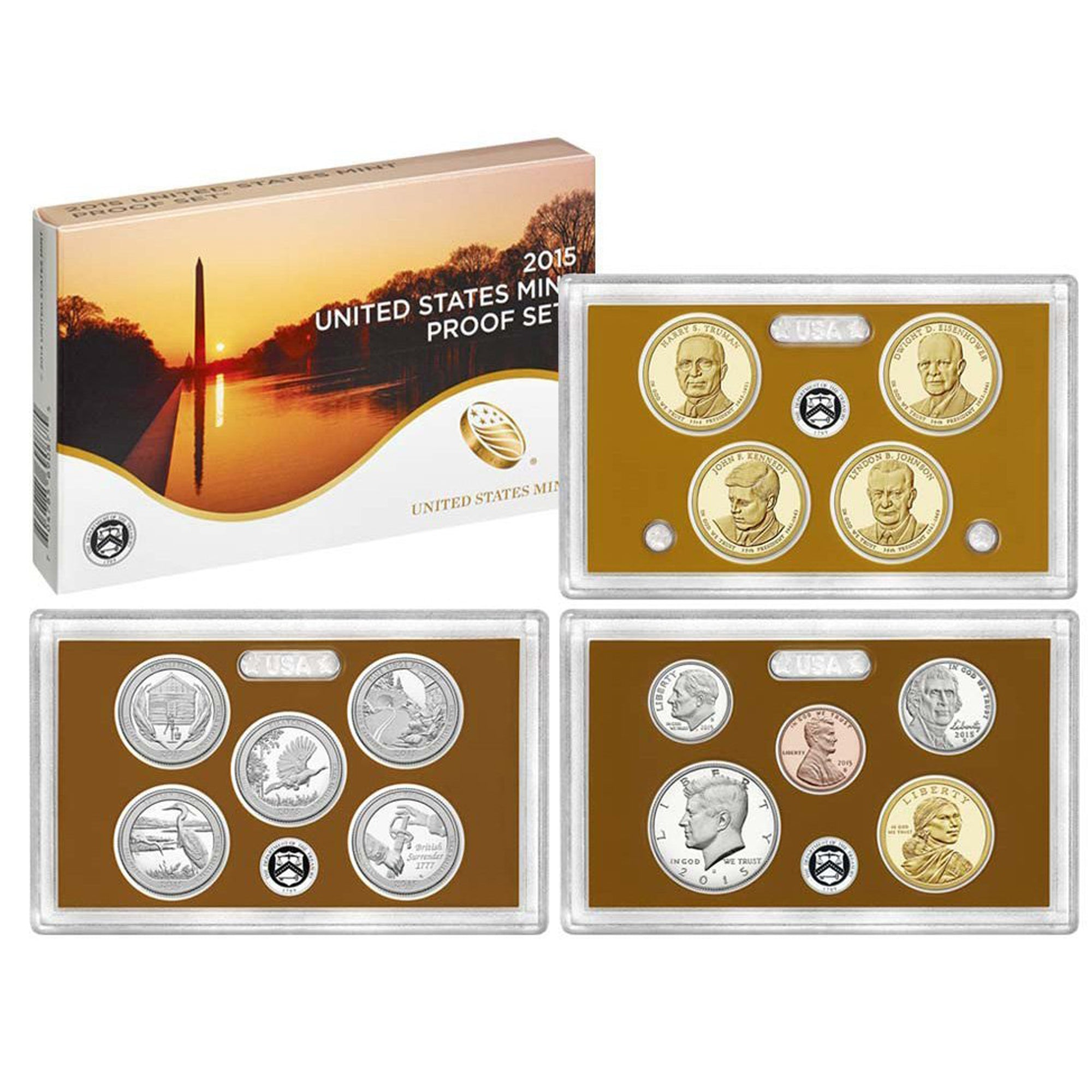 2015 Proof set 10 Pack CN-Clad Kennedy, Presidential Dollar, State quarters - (OGP) 140 coins