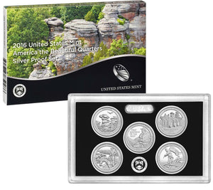 2016 America the Beautiful Quarter Proof Set 90% Silver (OGP) 5 coins