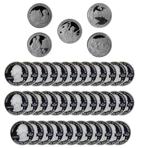 2017 S Parks Quarter ATB Gem Deep Cameo Proof Roll 90% Silver (40 Coins)