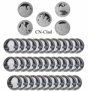 2017 S Parks Quarter ATB Gem Deep Cameo Proof Roll CN-Clad (40 Coins)
