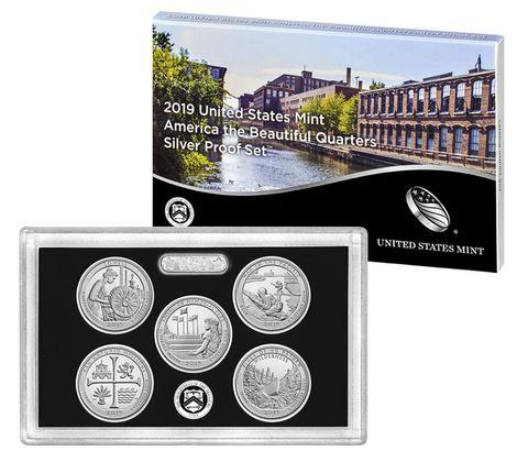 2019 America the Beautiful Quarter Proof Set 90% Silver (OGP) 5 coins