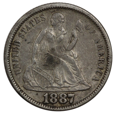1887 Seated Liberty Dime XF Details (AP 22059)