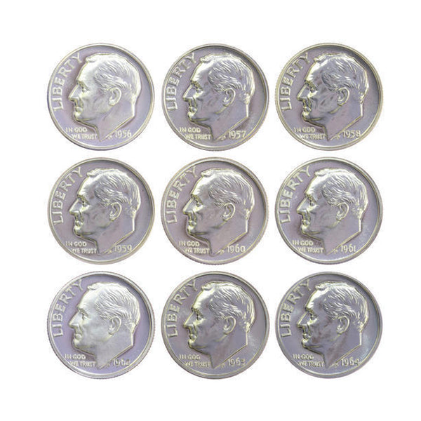 1956-1964 S Proof Roosevelt Dime Run 90% Silver 9 Coins