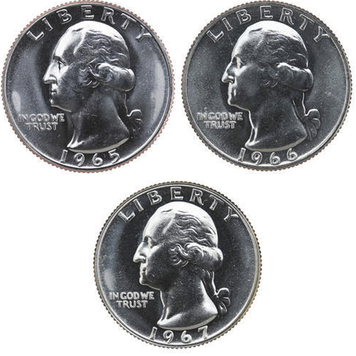 1965-1967 SMS Washington Quarter Run CN-Clad 3 Coins