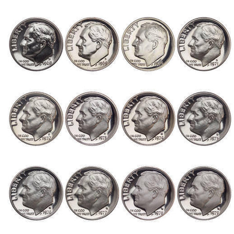 1968-1979 S Proof Roosevelt Dime Run CN-Clad 12 Coins