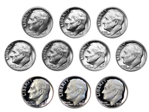 1970-1979 S Proof Roosevelt Dime Run CN-Clad 10 Coins