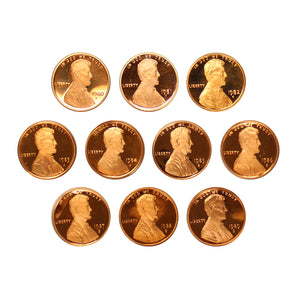 1980-1989 S Proof Lincoln Memorial Cent Run 10 Coins