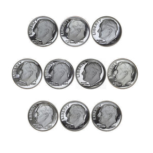 1980-1989 S Proof Roosevelt Dime Run CN-Clad 10 Coins