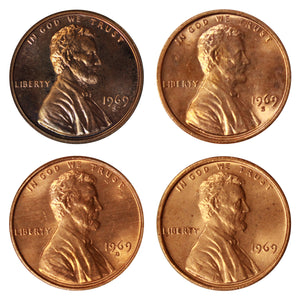 1969 P D S S Lincoln Memorial Cent 1c Year set Proof & BU US 4 Coin lot