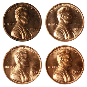 1972 P D S S Lincoln Memorial Cent 1c Year set Proof & BU US 4 Coin lot
