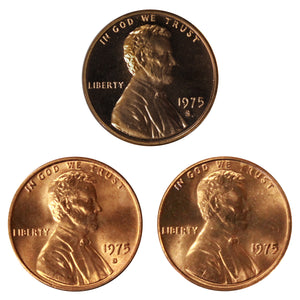 1975 P D S Lincoln Memorial Cent 1c Year set Proof & BU US 3 Coin lot