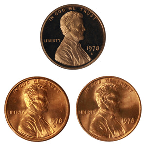 1978 P D S Lincoln Memorial Cent 1c Year set Proof & BU US 3 Coin lot