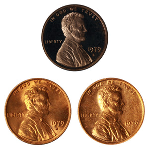 1979 P D S Lincoln Memorial Cent 1c Year set Proof & BU US 3 Coin lot