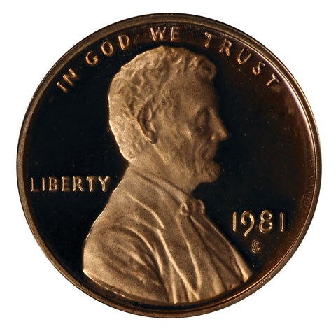 1981 Gem Deep Cameo Proof Lincoln Shield Cent Type 1 filled S