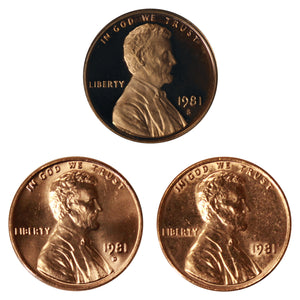 1981 P D S Lincoln Memorial Cent 1c Year set Proof & BU US 3 Coin lot