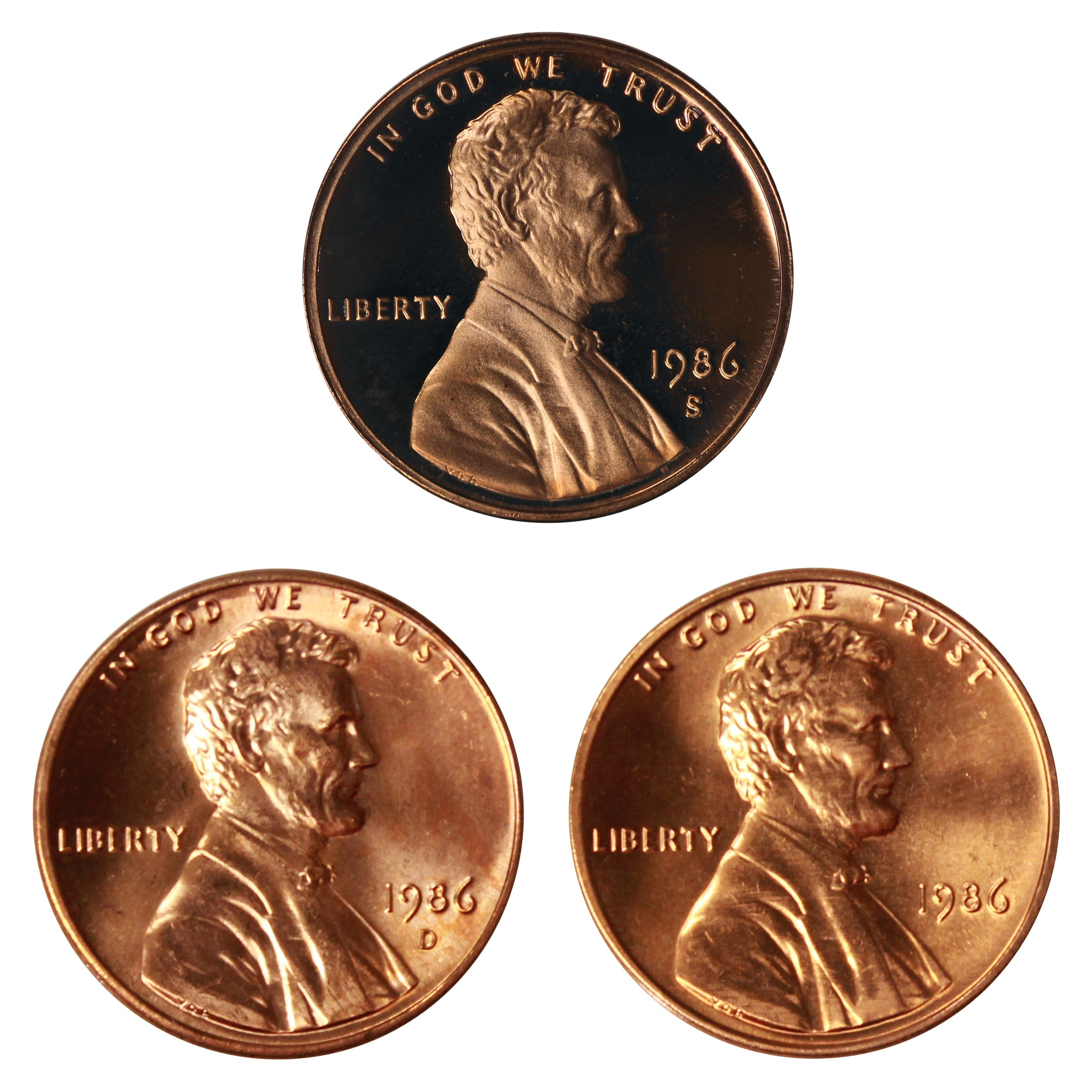 1986 P D S Lincoln Memorial Cent 1c Year set Proof & BU US 3 Coin lot