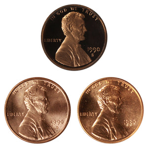 1990 P D S Lincoln Memorial Cent 1c Year set Proof & BU US 3 Coin lot