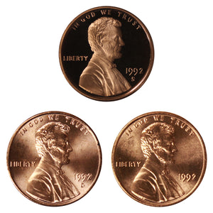1992 P D S Lincoln Memorial Cent 1c Year set Proof & BU US 3 Coin lot