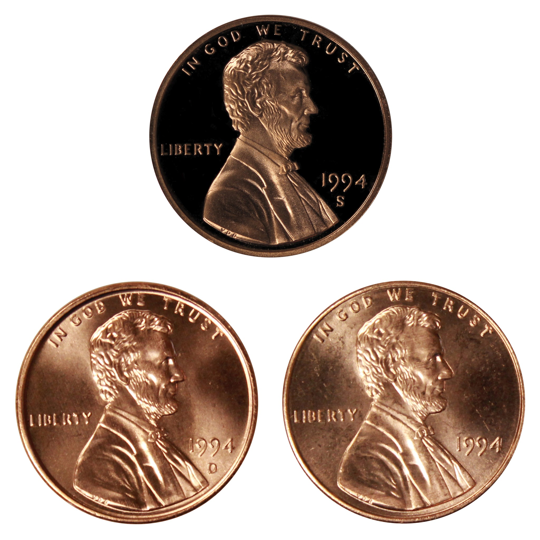 1994 P D S Lincoln Memorial Cent 1c Year set Proof & BU US 3 Coin lot