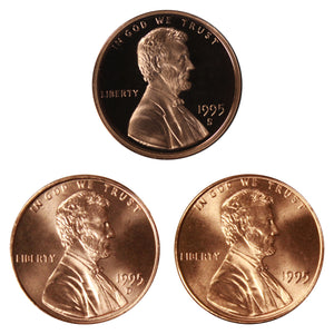 1995 P D S Lincoln Memorial Cent 1c Year set Proof & BU US 3 Coin lot