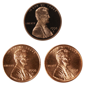 1998 P D S Lincoln Memorial Cent 1c Year set Proof & BU US 3 Coin lot