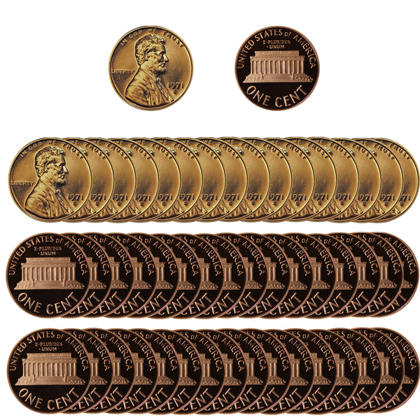 1971 Gem Proof Lincoln Cent Roll (50 Coins)