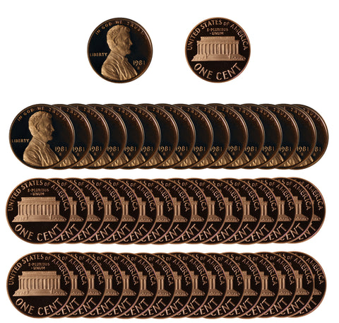 1981 Gem Proof Lincoln Cent Roll (50 Coins) Type 1