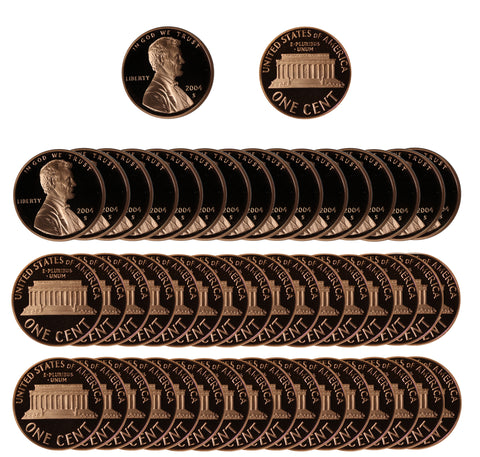 2004 Gem Proof Lincoln Cent Roll (50 Coins)