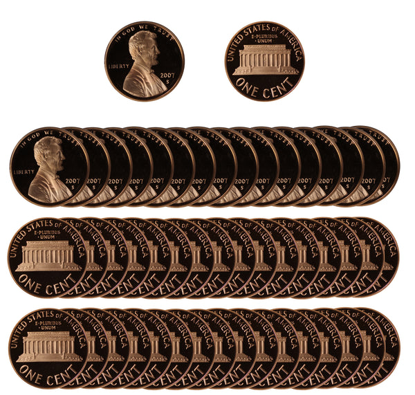 2007 Gem Proof Lincoln Cent Roll (50 Coins)