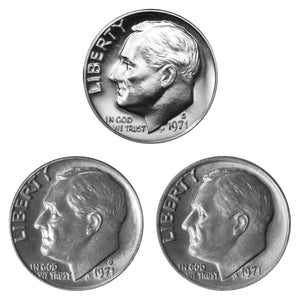 1971 P D S Roosevelt Dime 10c Year set Proof & BU US 3 Coin lot