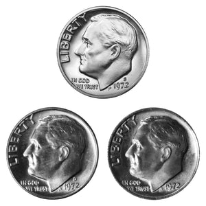 1972 P D S Roosevelt Dime 10c Year set Proof & BU US 3 Coin lot