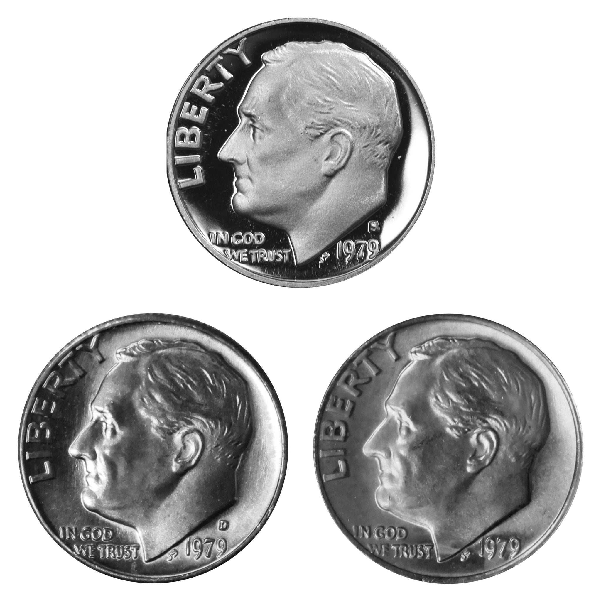 1979 P D S Roosevelt Dime 10c Year set Proof & BU US 3 Coin lot