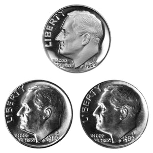 1980 P D S Roosevelt Dime 10c Year set Proof & BU US 3 Coin lot